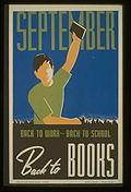 Een Works Progress Administration Poster, uit 1940, voor september