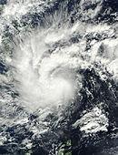 Satellietbeeld van tropische storm Washi boven de Filippijnen