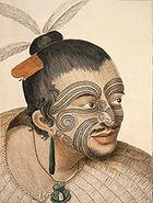 Zdjęcie wodza Māori z tradycyjnymi tatuażami.