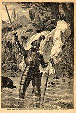 Vasco Núñez de Balboa claimt de Zuidzee. 19e eeuwse gravure door onbekende kunstenaar