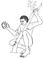 Een man in het Stenen Tijdperk gebruikt een steen om een boom om te hakken...