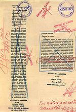 """Krantenartikelen gecensureerd uit """"Noticias da Amadora"""", een Portugese krant, 1970."""