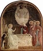 Freski (malowidła ścienne) na temat zmartwychwstania Fra Angelico we Florencji, Włochy
