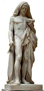 Een standbeeld van Cato de Jongere. Het Louvre Museum, op het punt zichzelf van het leven te beroven terwijl hij de Phaedo leest, een dialoog van Plato waarin de dood van Socrates wordt beschreven. Jean-Baptiste Roman (Parijs, 1792-1835), afgewerkt door François Rude (1784-1855)