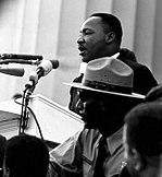 Martin Luther King, Jr. beim Marsch auf Washington am 28. August 1963.
