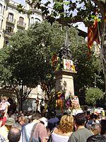 Bloemenoffers op de nationale feestdag van Catalonië, 11 september.