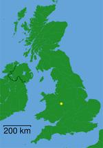 Kaart met de ligging van Telford