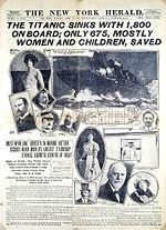 Zeitungsbericht über den Untergang der RMS Titanic am 15. April 1912.