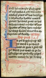 """Questa è una delle più antiche traduzioni in inglese dei Vangeli, ed è stata fatta nel 1300. Fu tradotta da John Wycliffe. Il Vangelo di Giovanni inizia dove c'è la grande lettera """"I"""". Si legge """"In þe bigynnyng was/þe word & þe word/was at god/& god was/þe word""""."""
