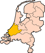 Map: Province of South Holland in the Netherlands