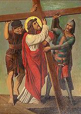 Ježíš pomáhá Šimonovi z Kyrény, brazilské vyobrazení z 19. století