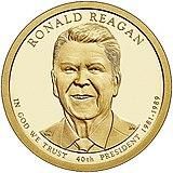 Reagan na programu prezidentské mince v hodnotě 1 USD z roku 2016
