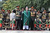 Były prezydent Afganistanu Hamid Karzaj podczas obchodów Dnia Niepodległości Afganistanu w Kabulu w 2011 r.