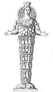 18e-eeuwse gravure van een Romeinse marmeren kopie van een Griekse replica van een verloren gegane xoanon uit de Geometrische periode