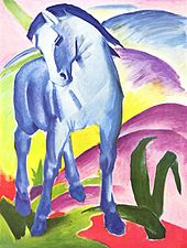 Blaues Pferd I (Blauwe Paard I, 1911 door Franz Marc (1880-1916).