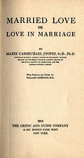Omslag van Marie Stopes bestseller, Married Love