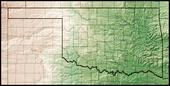 Een kaart die de fysieke kenmerken van Oklahoma laat zien