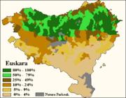 Pourcentage de personnes parlant couramment le basque.