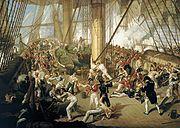 Afbeelding van de dood van Horatio Nelson in de slag bij Trafalgar op 21 oktober 1805.