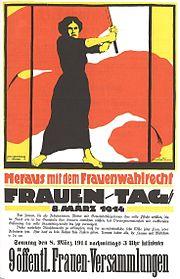 Deutsches Plakat von 1914 zum Internationalen Frauentag am 8. März.