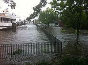 Overstroming in Greenwich, Connecticut veroorzaakt door orkaan Irene