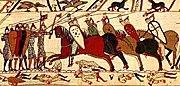 Deel van het Tapijt van Bayeux waarop de Slag bij Hastings is afgebeeld, die plaatsvond op 14 oktober 1066.