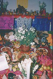 Offerande op de Dag van de Doden in Mexico, gevierd van 31 oktober tot 2 november.