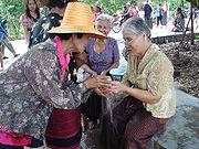 Songkran-Feier in Thailand um den 14. April herum.