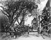Landingsmacht bereidt zich voor op de omverwerping van de monarchie van Hawaii op 17 januari 1893.