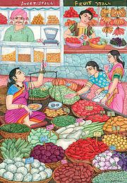 Na rynku w Indiach sprzedaje się smaczne składniki do diety wegetariańskiej.