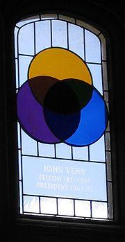 Gebrandschilderd raam in Cambridge, waar John Venn studeerde. Het toont een Venn diagram.