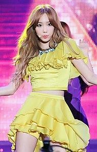 Taeyeon treedt op tijdens de K-pop Expo in Azië op 21 september 2014.