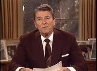 Přehrávání médií Prezident Reagan v projevu k národu při příležitosti jmenování Roberta Borka členem Nejvyššího soudu, říjen 1987.