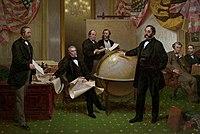 Gemälde, das die Zustimmung der USA vom 30. März 1867 zum Kauf Alaskas von Russland zeigt.