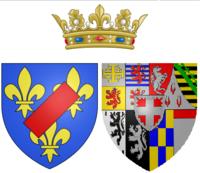 Wapen van de prinses van Lamballe als getrouwde vrouw.