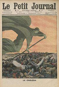 Tekening van de Dood die cholera brengt, in Le Petit Journal