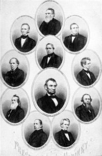 Retratos dos membros do gabinete da Lincoln