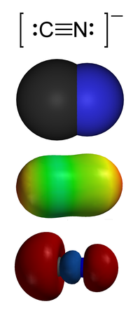 Het cyanide-ion. Van bovenaf: 1. Valence-bond structuur2 . Ruimtevullend model3 . Elektrostatisch potentieel oppervlak4 . 'Carbon lone pair'.