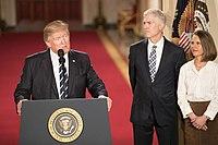 President Donald Trump introduceert Gorsuch als zijn genomineerde voor het Hooggerechtshof in het Witte Huis, januari 2017