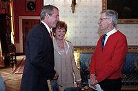 Rogers op bezoek in het Witte Huis, april 2002
