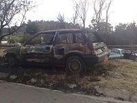 Een auto die verbrand is in de Haute-Ferntree Gully, 2009