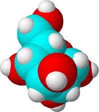 Dies ist ein Zuckermolekül. Kohlenstoffatome werden blau, Sauerstoffatome rot und Wasserstoffatome weiß dargestellt, um den Unterschied zu verdeutlichen. In Wirklichkeit haben Atome keine Farbe.