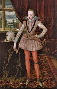 Dit portret illustreert de praktische, decoratieve en sociale aspecten van de textielkunst. Henry Frederick, Prins van Wales door Robert Peake de Oude, 1610.