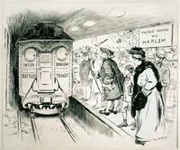 Een politieke cartoon van de slechte dienst van de Interborough Rapid Transit in 1905, van de New York Herald.