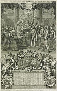 Gravure van het huwelijk van de prins van Conti en mademoiselle de Chartres in Versailles, 1732