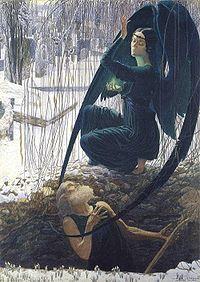La mort du fossoyeur (De dood van de doodgraver) door Carlos Schwabe
