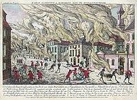 Een illustratie uit 1776 van een onbekende kunstenaar van de brand die een groot deel van de stad verwoestte