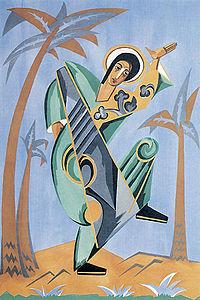 Goncharova's ontwerp voor St John. Onderdeel van een opdracht van Diaghilev voor het ballet De Liturgie