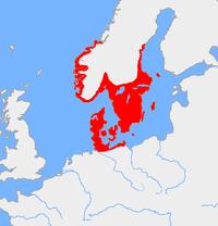 Kaart van de Scandinavische bronstijd cultuur, ca 1200 v.Chr.