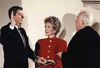 Inaugurace Reagana do funkce prezidenta v Bílém domě, leden 1985